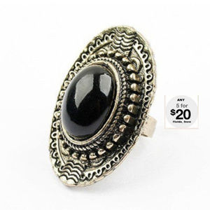 Jewelry - Victorian Black Onyx Knuckle Ring ~ Antique Gold
